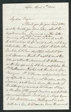 Letter from John Pratt Winter to My dear Bryan, April 5, 1844