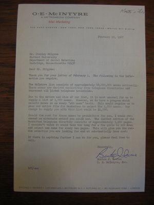 Bruno J. Irwine to Stanley Milgram, February 10, 1967