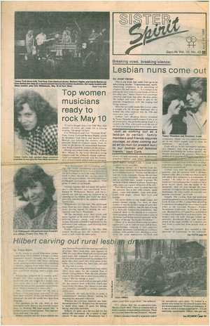 SISTER Spirit GayLife Vol. 10 No. 43 April 25, 1985