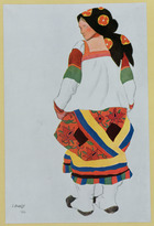 Costume design for a Peasant Girl, 1922 (colour litho)