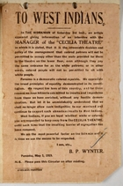 Circular re: To West Indians about Cecilia Theatre Policy Where Colored People Can Sit, signed by B. P. Wynter, May 3, 1919