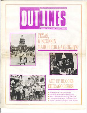 Outlines, The Voice of the Gay and Lesbian Community, Vol 3 No. 1, June 1989