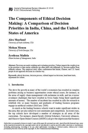 The Components of Ethical Decision Making: A Comparison of Decision Priorities in India, China, and the United States of America