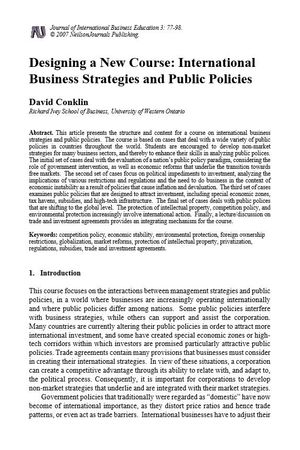 Designing a New Course: International Business Strategies and Public Policies