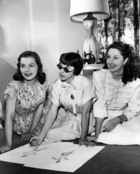Actresses Laura Elliot and Virginia O'Brien with Paramount designer Edith Head (1907-1981) c. 1950