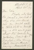 Letter from S.A. Howitt to Edith Thompson, April 23, 1897