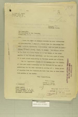 Combined Correspondence Discussing Closure of Border Port of Entry at Santa Helena, TX, Jan. 20 - April 22, 1920