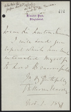 Letter to Sir Lintorn Simmons, November 1, 1877