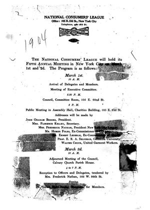Announcement, National Consumers' League Fifth Annual Meeting, March 1904