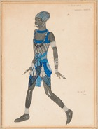A costume design for 'Cleopatra', 1910 (pencil, w/c & gouache heightened with silver on paper)