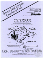 Flyer for a benefit performance of SisterSoul by Jeannie Barroga, staged at Baylands Interpretive Center, Palo Alto, CA, January 18, 1988.