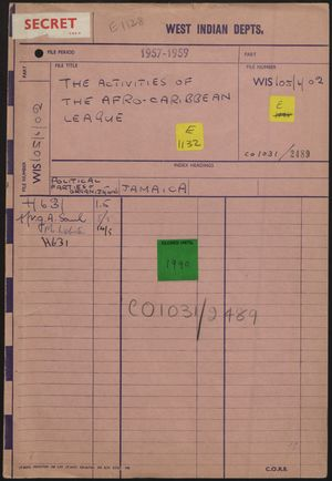 File Folder: Front and Back re Activities of Afro-Caribbean League, from West Indian Department, [1959]