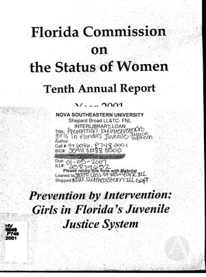 Tenth Annual Report, 2001: Prevention by Intervention: Girls in Florida's Juvenile Justice System