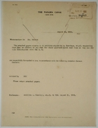 Cover Memo from R. K. M. to Mr. Peters re: Request to Pay Rent for Quarters Until Re-Employment, August 18, 1921