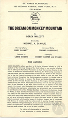 Playbill for Dream On Monkey Mountain by Derek Walcott