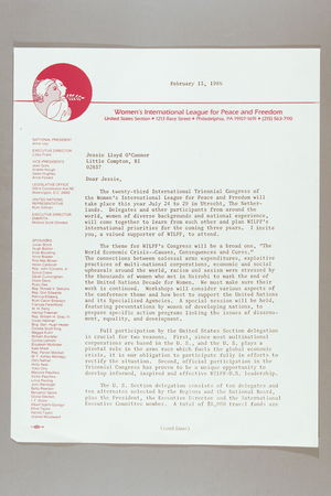 Letter from Anne Ivey to Jessie Lloyd O'Connor, February 13, 1986