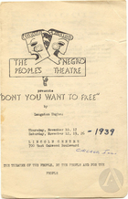 Playbill for Don't You Want To Be Free? By Langston Hughes