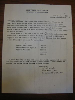 Chuck Korte to Dr. Bales, January 1968