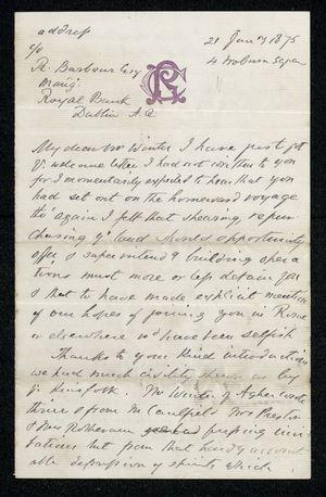 Letter from Francis Russell to Samuel Pratt Winter, January 21, 1875