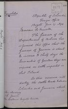 Translation of Memo from Marco F. Suarez to Her Britannic Majesty's Minister re: Increase in Cattle Quarantine, June 27, 1893