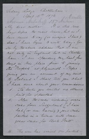 Letter from Samuel Winter Cooke to My dear Mother, April 16, 1872