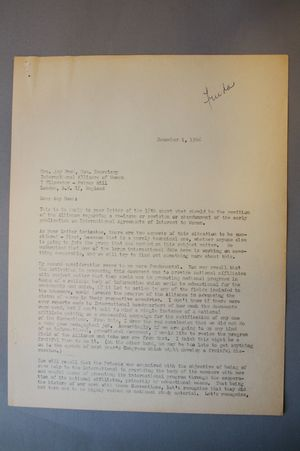 Letter from Frieda Miller to Amy Bush, December 1, 1966