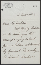 Letter to Sir Lintorn Simmons, November 3, 1877; plus Note to Edwards re Simmons Memo, October 29, 1877
