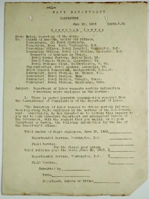 Circular Letter from R. E. Coontz re: Department of Labor Requests Certain Information Concerning Negro Employees in the Service, June 20, 1923