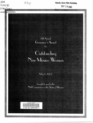 17th Annual Governor's Award for Outstanding New Mexico Women