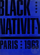 Playbill for Black Nativity by Langston Hughes, directed by Vinnette Carroll at Theatre des Champs-Elysees, Paris, France, 1963