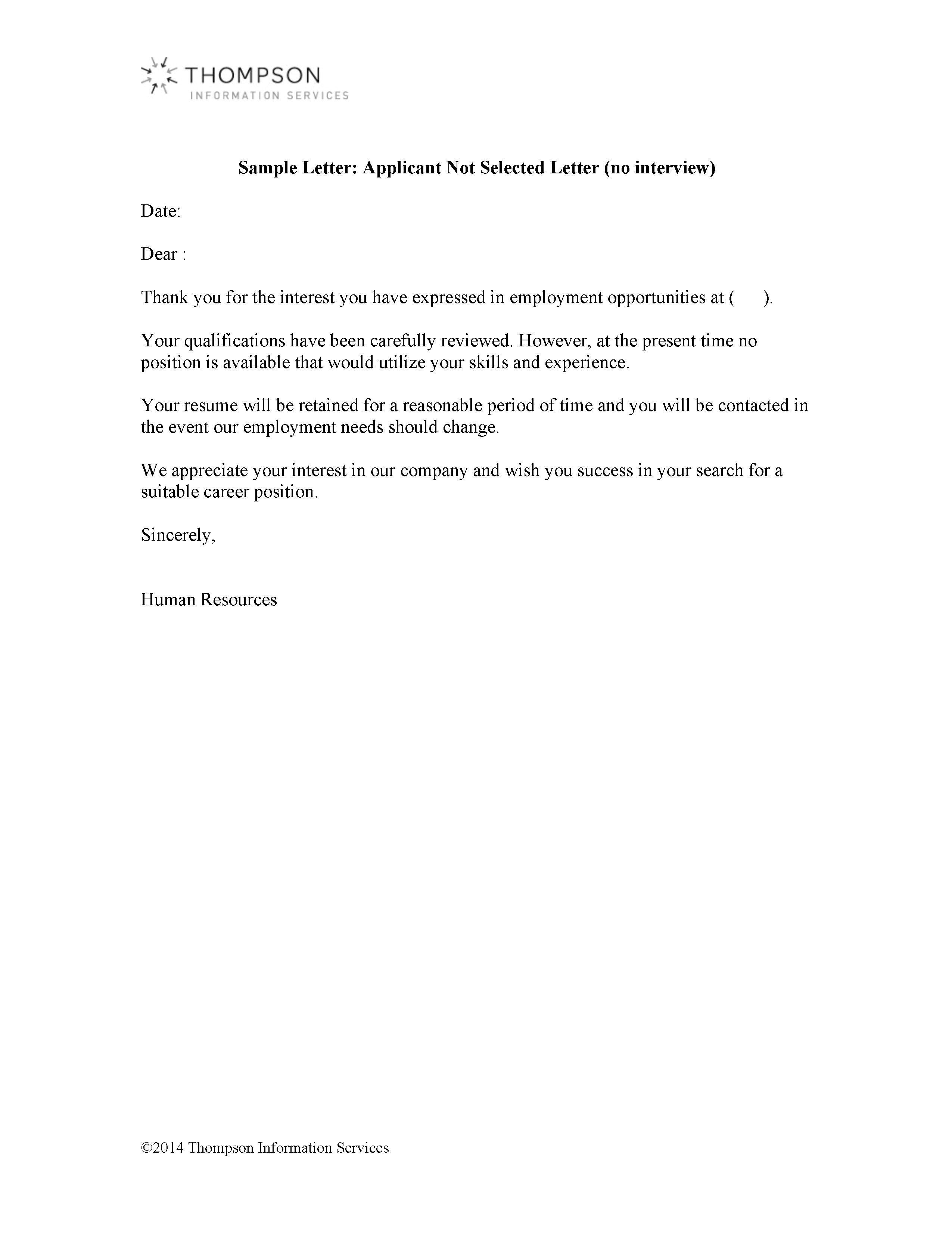 Letter To Applicants Not Selected from d3crmev290s45i.cloudfront.net