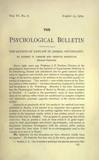 The Method of Pavlov in Animal Psychology