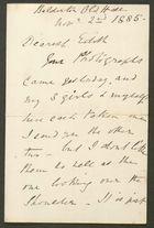 Letter from E. J Bakewell to Edith Thompson, November 2, 1885
