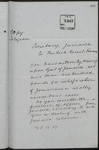 Copy of Telegram from Secretary, Jamaica, to British Consul, Panama, re: Authorization of Aid to Distressed Jamaicans in Panama, February 14, 1889