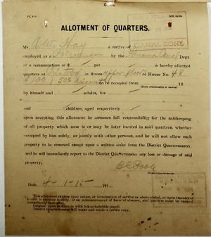 Allotment of Quarters for A. W. Hay
