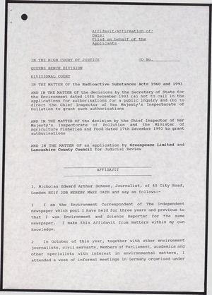 Affidavit of Nicholas Schoon in the Court of High Justice, Queens Bench Division, re: Radioactive Substances Acts of 1960 and 1993, 1993