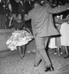 Young Couple Dancing at Notting Hill Carnival, 1959 (b/w photo)