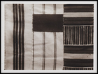 3 textile pieces, 1 woven in stripes, 1 in stripes with solid colour black insert and 1 in cross stripes with close upright stripe insert