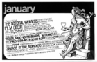 Postcard of Omaha Magic Theatre show schedule for January 1977, including productions of Brazil Fado: You're Always With Me, and Babes In The Bighouse by Megan Terry.