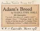 Adam's Breed, 5th Impression by Radclyffe Hall (Sunday Times - May 30 / T.P. and Cassells, June 19)