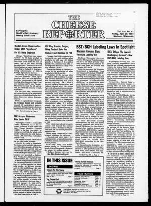 Cheese Reporter, Vol. 118, no. 41, April 29,  1994