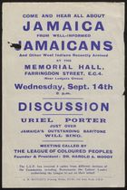 Flyer for Meeting Called by League of Coloured Peoples re: Jamaica