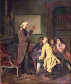 A Lesson with Abbe Charles Michel de l'Epee (1712-89) after a painting by F. Peyson (oil on canvas)