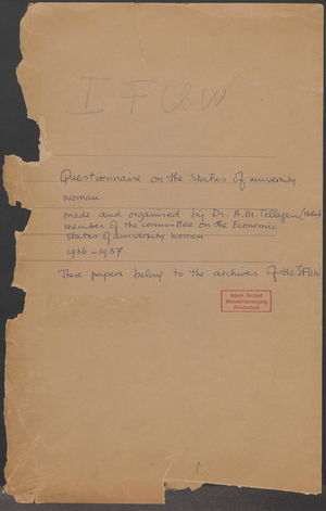 Documents related to the I.F.U.W. Questionnaire on the Status of University Women