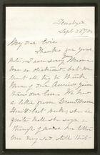 Letter from Liney Howitt to Edith Thompson, September 23, 1884
