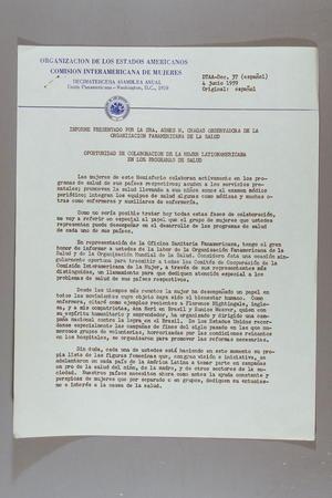 Informe Presentado por la Sra. Agnes W. Chagas Observadora de la Organizacion Panamericana de la Salud: Oportunidad de Colaboraccion de la Mujer Lationamericana en los Programas de Salud