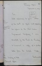 Memo from T. H. Sanderson to Under Secretary of State, Colonial Office, re: West India Improvement Company, September 09, 1893