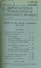 Report of the Second Conference, July, 1922