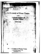 A Record of Four Years in the National League of Women Voters, 1920-1924