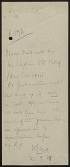 Note from J. C. Lloyd, September 23, 1938